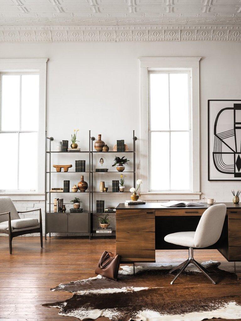 Braden Chair, Enloe 2 Door Bookshelf, Enloe Modular Bookshelf, Cowhide Rug, Cuzco Desk, Amber Desk Chair, Imperfect Present By Alyson Khan